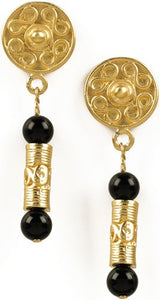 Museumize:Precolumbian Tolima Roller Seal Dangle Earrings with Stones, Assorted Colors,black onyx