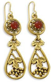 Museumize:Russian Dangle Grape Earrings with Carnelian - 5484