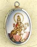 Museumize:Saraswati Hindu Color Ceramic Pendant Unisex Necklace