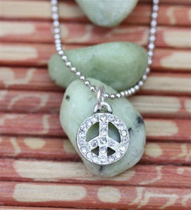 Simply Peace Pendant Necklace with Peace Crystal Charm - Museumize