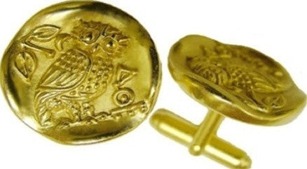 Museumize:Owl of Athena Minerva Greek Coin Style Cufflinks,24K gold plated over pewter