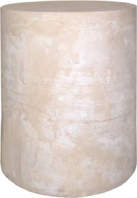 Museumize:Medium Round Drum Pedestal End Table Column 18H,Ochre with White Wash