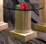 Museumize:Greek Fluted Column Pedestal Display, Assorted Sizes,Ochre with White Wash / Pedestal, 18H