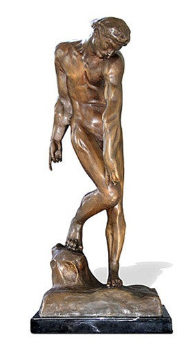 Museumize:Adam from Gates of Hell by Rodin, Bronze Metal with Marble Base 21.75H