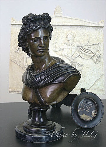 Museumize:Apollo Belvedere Bronze Bust, Lost Wax Bronze 13H