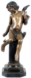 Museumize:Cupid on Column Statue, Lost Wax Bronze - 7944