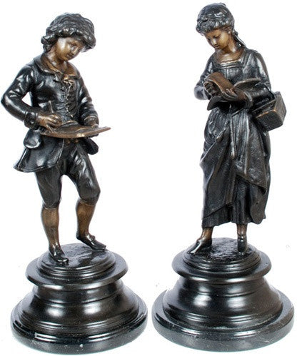Museumize:French Boy and Girl Children Reading Books Statue Pair, Lost Wax Bronze - 7936