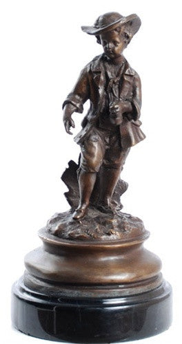 Museumize:French Boy with Money Bag Statue, Lost Wax Bronze - 7943