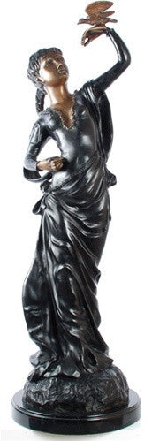 Museumize:French Lady with Bird Statue, Lost Wax Bronze - 7928