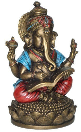 Museumize:Ganesh Writing the Mahabharata Hindu Statue 6.75H, Assorted Colors,Bronze Finish