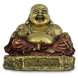 Museumize:Happy Buddha Ho Tai Seated on Rock Small Prosperity Statue 3.5H