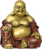 "Happy Buddha Ho Tai Seated Statue, 7""H, Gold and Red - O-074GR - Museumize"