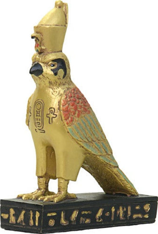 Horus Falcon Egyptian Miniature Statue with Golden Details 3.5H - Museumize