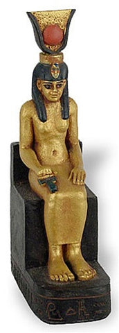 Isis Egyptian Mother Goddess Seated - Miniature Statue - E-320GP - Museumize