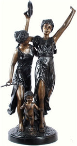 Museumize:Ladies with Tambourine L'Allegro Statue, Lost Wax Bronze - 7897