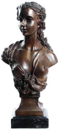 Museumize:Maiden Bust Statue, Lost Wax Bronze - 7894