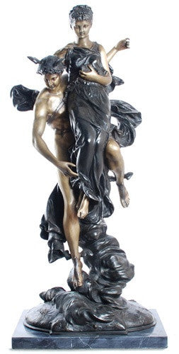 Museumize:Mercury Carrying the Goddess of Fortune Statue, Lost Wax Bronze - 7934