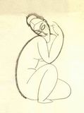 Museumize:Modigliani Abstract Female Nude Kneeling Statue, Assorted Sizes