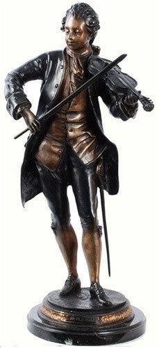 Museumize:Mozart Playing the Violin Statue, Lost Wax Bronze - 7932