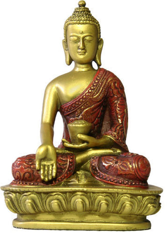Museumize:Buddha Nepali Style in Wish Giving Pose Desktop Statue 5.5H, Assorted Colors,Gold and Red