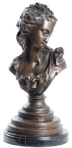 Museumize:Victorian Girl Bust, Lost Wax Bronze - 7920