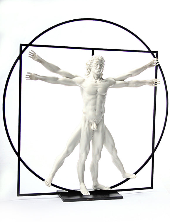 Museumize:Vitruvian Universal Man Image of Perfection Statue by DaVinci White, Assorted Sizes,Medium 8.5H