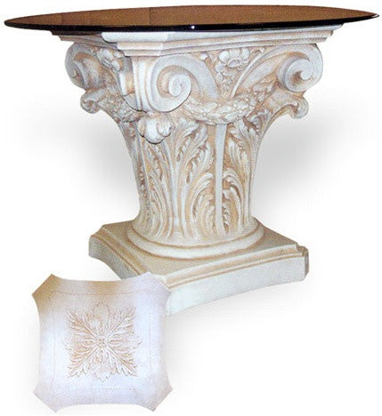 Museumize:Corinthian with Swag Dining Table Base 29.5H,Museum White