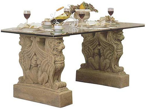 Lion Griffin European Castle Table Base 29H - Museumize  - 1