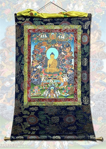 Museumize:Earth Touching Buddha Thangka Banner 41H - 6612