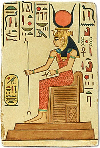 Hathor Egyptian Goddess of Women Seated on Throne Small Wall Art Relief 6.5H - Museumize