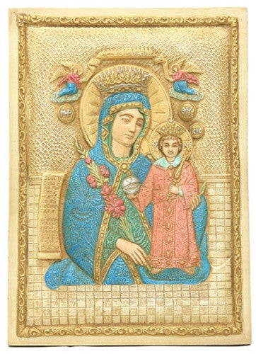 Museumize:Mary and Jesus Icon with Miraculous Cures from Rose Petals Wall Relief 9H