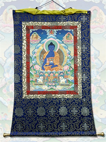 Museumize:Medicine Buddha Yellow Cape Thangka Wall Hanging Scroll Paper and Silk 40H - 6610
