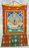 Meditation Buddha Thangka Ceremonial Wall Hanging Scroll Paper and Silk 46.5H - 6611 - Museumize