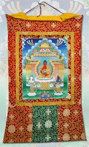Museumize:Meditation Buddha Thangka Ceremonial Wall Hanging Scroll Paper and Silk 46.5H - 6611