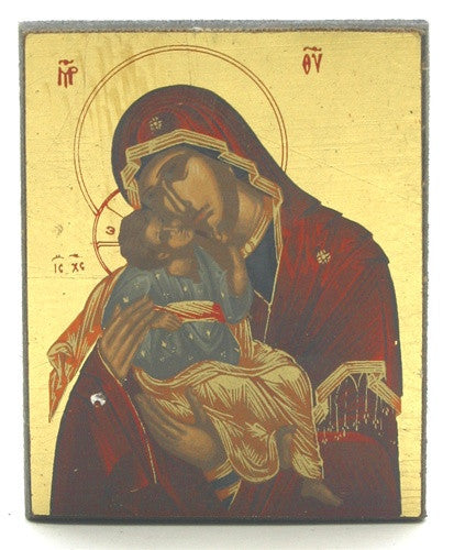 Museumize:Our Lady of Vladimir Mary Holding Baby Jesus Icon 2.75H - I-423