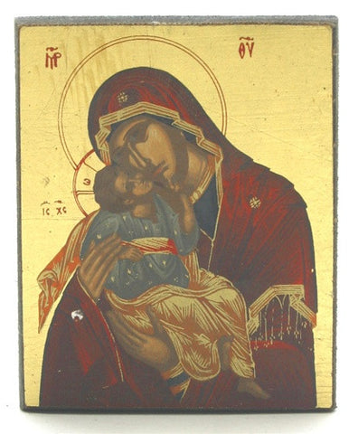 Our Lady of Vladimir Mary Holding Baby Jesus Icon 2.75H - I-423 - Museumize
