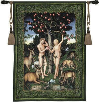 Museumize:Adam and Eve Garden of Eden Green Tapestry 53H