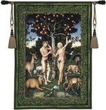 Adam and Eve Garden of Eden Green Tapestry 53H - Museumize