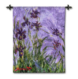 Monet Irises Woven Wall Tapestry 44L - Museumize