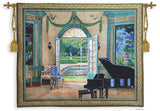 Music Room with Grand Piano and Garden View by Monet Tapestry - 6762 - Museumize