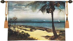 Museumize:Tropical Coast Ocean Palm Tree Landscape Wall Tapestry 53W - 6803