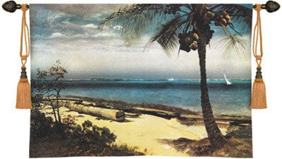 Tropical Coast Ocean Palm Tree Landscape Wall Tapestry 53W - 6803 - Museumize