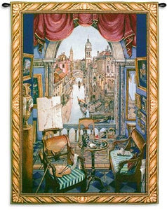 Museumize:Venice Canals View from a Window Wall Tapestry 53L - 8158