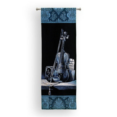 Wall Tapestries - Violin Instrument On Shelf Tapestry - 6766