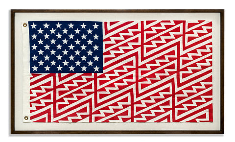 FAILE FLAG, Star Spangled Shadows - A3054, 2016 49.3 × 29 × 2 in Hand Embroidered Appliqué on Linen with Custom Brass Eyelets
