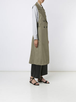 Cotton Sleeveless Trench W/Belt
