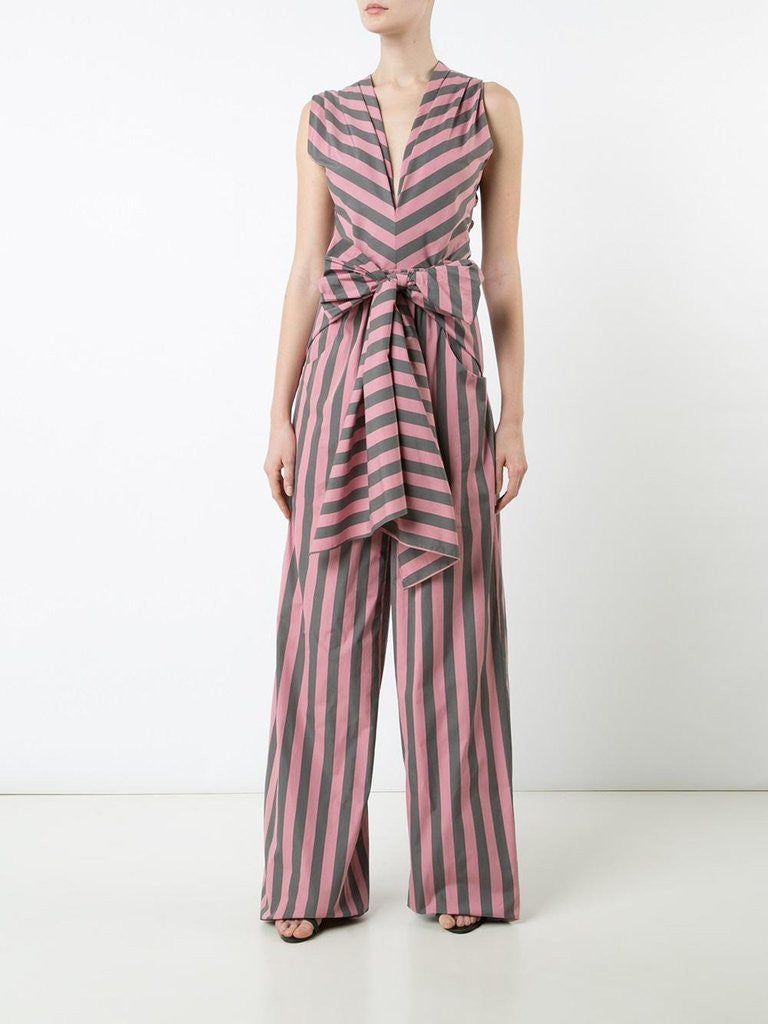 Cotton Bow Front Jumpsuit