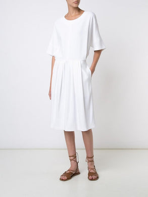 Stretch Crepe Pleated Waist Dress