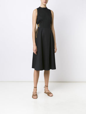 Cotton Sleeveless Jewel Neck Dress