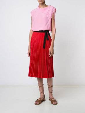 Taffeta Pleated Wrap Skirt